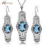 Brand New Vintage 925 Sterling <b>Silver</b> Jewelry Sets Blue Rhinestone Crystal Long Drop <b>Earrings</b>/Pendant/ For Women Free Gift Box
