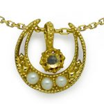 Natural Moonstone White Pearl Golden Ship 925 Sterling <b>Silver</b> <b>Necklace</b>