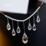 SINZRY party <b>Jewelry</b> pure handmade waterdrop crystal chokers <b>necklaces</b> 925 sterling silver imported crystal <b>jewelry</b> women gift