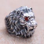 Genuine 925 Sterling Silver Lion King Ring For Men With Red Eyes Inlaid CZ Stone Animal Male Ring Fine <b>Jewelry</b>