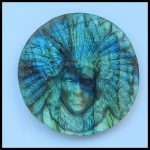 Birthday gift,Natural Carved Labradorite Indian head <b>fashion</b> necklace Pendant Cabochons for men,Gift Gem Customized,43x8mm,19.4g