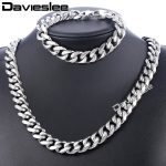 Daiveslee Polished Mens Necklace <b>Bracelet</b> Jewelry Set 316L Stainless Steel Chain <b>Silver</b> Tone Curb Cuban Link DHS43