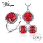 Jewelrypalace Pigeon Blood Created Ruby Pure 925 <b>Sterling</b> <b>Silver</b> Ring Necklace Pendant Earring Women Bridal <b>Jewelry</b> Set