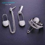 MECHOSEN Unique Design Long Tassel Drop Earrings&Rings With Pin <b>Jewelry</b> Sets Personality Women Rhodium Aretes Aros Schmuck Sets
