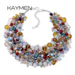 KAYMEN New Top Unique Design Bohemian Statement Necklace for Wedding Full Crystals <b>Handmade</b> Women's Choker Necklace Fashion
