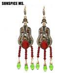 Exhibition Turkish Women Vintage Seed Bead Dangle Red Earrings <b>Antique</b> GoldColor Tassel Resin Hook Drop Earring Retro <b>Jewelry</b>