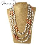 Real natural bohimian multilayer long pearl <b>necklace</b> women,fashion freshwater pearl <b>necklace</b> baroque girl best friends gift