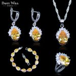 Sparkling Yellow Cubic Zirconia Earring And Necklace And <b>Bracelets</b> And Pendant Fashion Women <b>Silver</b> Color 925 Mark Jewelry Sets
