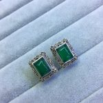 [S925] <b>silver</b> inlay natural cord / green chalcedony retro atmosphere Marcasite <b>Earrings</b>