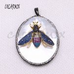 3 pcs Big white shell pendants with big wasp charm necklace pendants for <b>jewelry</b> <b>making</b> gift for women wholesale <b>jewelry</b> 4046