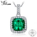 JewelryPalace Cushion 3.3ct Created Emerald Halo Pendant <b>Necklace</b> Solid 925 Sterling <b>Silver</b> 45cm Fine Jewelry 2018 Hot Selling