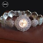 Limited Edition Classic S925 <b>Silver</b> Pure Thai <b>Silver</b> Plum Flower <b>Bracelet</b> Watches Thailand Process Rhinestone Bangle Dresswatch