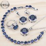 Ladies Silver 925 <b>Jewelry</b> Sets For Women 2018 Blue Cubic Zirconia Rings/Bracelets/Earrings/Pendant Necklace Set Free Gift Box