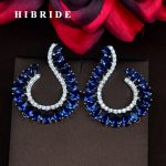 HIBRIDE Fashion Design Blue Water Drop White Gold Color Stud Earrings For Women <b>Jewelry</b> <b>Wedding</b> Gifts Boucle d'oreille E-820