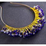 Blue/white <b>handmade</b> crystal bridal headbands bridal headpiece prom hair <b>jewelry</b> wedding hair accessories hairbands