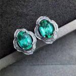 natural green emerald gem <b>earrings</b> 925 <b>silver</b> Natural gemstone <b>earring</b> women fashion elegant Bulge geometry <b>Earrings</b> jewelry