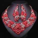 Fashion Bridal <b>Jewelry</b> Sets Red Crystal Butterfly Statement <b>Necklace</b> Dangle Earrings Wedding Party Dress Accessories For Women