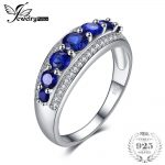 JewelryPalace 1.4ct Created Blue Sapphire Cocktail Ring 100% Real 925 Sterling <b>Silver</b> Charm Wedding Fine <b>Jewelry</b> Rings For Women