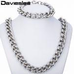 14mm Heavy Mens Chain Boys <b>Silver</b> Tone CURB Stainless Steel Necklace <b>Bracelet</b> Chain Set Customize Sz KS153