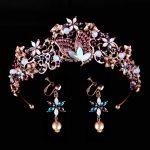 Vintage Rhinestone Wedding Butterfly Crown Headbands Purple Crystal Bridal Tiaras And Crowns For Prom Bride Hair <b>Jewelry</b>