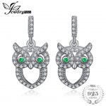 JewelryPalace Green Eyed Owl 0.2ct Nano Russian Simulated Emerald Drop Earrings 925 Sterling Silver <b>Wedding</b> <b>Jewelry</b> For Women