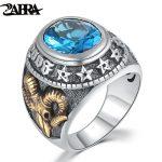 ZABRA 925 Silver Blue Zircon Men Ring Vintage Stone Punk Rock Gold Sheep Head Thai Handmade Women Rings Sterling Silver <b>Jewelry</b>