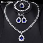 ThreeGraces Luxury Wedding <b>Jewelry</b> Set Big Water Drop Cubic Zirconia Royal Blue 4Pcs Ring Earrings <b>Necklace</b> Set For Women JS231