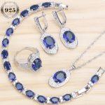 Blue Cubic Ziconia Bridal <b>Silver</b> 925 Jewelry Sets Earrings For Women Wedding Jewelry Necklaces & Pendants Rings <b>Bracelet</b> Set