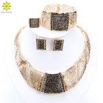 Dubai Nigeria African Women's Gold <b>Jewelry</b> Gold Color Full Crystal <b>Jewelry</b> Classic Charming Design <b>Jewelry</b> Sets