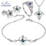 LAMOON Real Sapphire Jewelry Sets 925 Sterling <b>Silver</b> Natural Blue Gemstone Fine Jewelry for Women Wedding Accessories V019-B-1