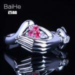 BAIHE Sterling <b>Silver</b> 925 0.15CT Certified H/SI 100% Genuine Natural Diamonds & Rubies Women Classic Fine <b>Jewelry</b> Ring