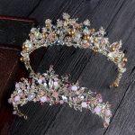 High Grade Multicolor Baroque Crystal Bride Crown Headdress for Women Wedding headwear <b>Jewelry</b> Gift