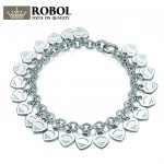 EDELL 925 Sterling <b>Silver</b> Wedding Party Tiff <b>Bracelets</b> With Cubic Zirconia Fit Women Heart-Shaped Classic Birthday Party Gift