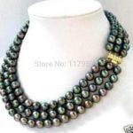 Hot new fashion shopping girls <b>jewelry</b> 3row 7-8MM Black Akoya Pearl Necklace Hand Made Fashion <b>Jewelry</b> <b>Making</b> Design AAA ZH0245