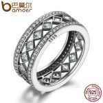 BAMOER Hot Sale 925 Sterling Silver Square Vintage Fascination, Clear CZ Big Ring For Women Luxury <b>Fashion</b> <b>Jewelry</b> S925 PA7601