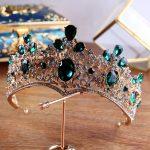 Green Rhinestone crown and Tiaras Princess Queen Vintage Baroque Crowns Bridal Hair Accessories 2018 wedding hair <b>jewelry</b>