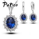 PATICO Princess Engagment Wedding Genuine 925 Sterling Silver A+++ Cubic Zirconia Pendant Necklace Earrings Woman <b>Jewelry</b> Sets