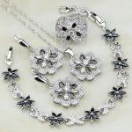 Flower 925 <b>Silver</b> Jewelry Black Zircon White Cubic Zirconia Jewelry Sets For Women Earrings/Pendant/Necklace/<b>Bracelet</b>/Ring