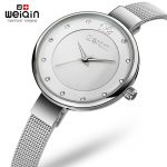 WEIQIN 2107 Popular <b>Silver</b> Fashion Women Watches Diamond Dial Full Steel <b>Bracelet</b> Dress Watch Women Slim Mujeres reloj kol saati