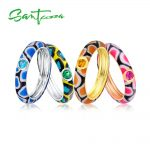 Santuzza Silver Rings For Women Multi-color Stones Ring Pure 925 Sterling Silver Party Fashion <b>Jewelry</b> Colorful Enamel <b>Handmade</b>