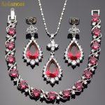 Lan Romantic <b>Silver</b>-Planted Jewelry Sets Red Garnet AAA Zircon Water Drop For Necklace Pendant /Earrings /<b>Bracelet</b> For Wedding