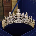 Fashion retro luxury popular crystal CZ zircon golden crown <b>wedding</b> bride banquet dressing <b>jewelry</b> Beauty tiaras free shipping