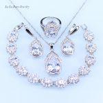 L&B Australia Crystal Water Drop <b>silver</b> 925 Jewelry Sets For Women <b>Bracelet</b>/Earrings/Necklace/Pendant/Rings
