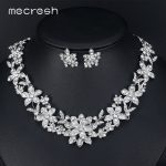 Mecresh 2017 Elegant Floral Bridal <b>Jewelry</b> Sets for Women Clear Crystal Engagement Necklace Earrings Sets Wedding <b>Jewelry</b> MTL511