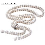 High Quality 2017 100%Natural freshwater Pearl Long <b>Necklace</b> 8-9 mm Real Pearl 925 Sterling <b>silver</b> Jewelry For Women Best Gifts