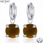MetJakt Authentic Natural Smoky Topaz Gemstone Elegant Classic 925 <b>Sterling</b> <b>Silver</b> Hook Earrings for Women's Fine <b>Jewelry</b>