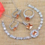 L&B West Simple Style Yellow Orange Stone 925 <b>Silver</b> Color Jewelry Sets <b>Bracelet</b> Wedding Jewelry Sets For Women