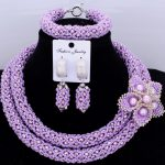African Beads <b>Jewelry</b> Sets 2018 Nigerian Wedding Necklace Set With <b>Handmade</b> Flowers For Bridal Women Free Shipping Fashion Hot