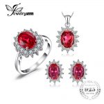 JewelryPalace Princess Diana Jewelry Engagement Wedding Pigeon Created Ruby Jewelry 925 Sterling <b>Silver</b> Ring Pendant <b>Earring</b>