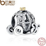 100% 925 Sterling Silver Openwork Cinderella's Pumpkin Charm Fit Bracelet Gold Color Crown <b>Jewelry</b> <b>Making</b> PAS027